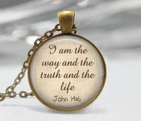 1 inch Round Pendant Tray - I am the way and the truth and the life John 14:6
