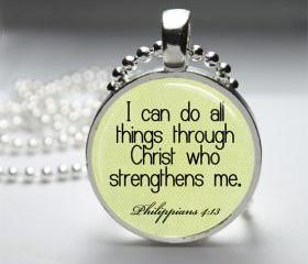 1 inch Round Pendant Tray - I Can Do All Things Through Christ Who Strengthens Me