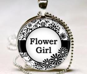1 inch Round Pendant Tray - Flower Girl