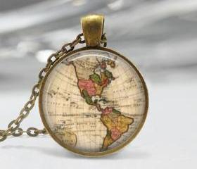 Old Map Pendant Resin Pendant Bronze