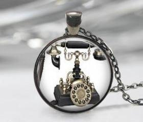 Vintage telephone Necklace Pendant, telephone pendant, Black Charm, Art Pendant